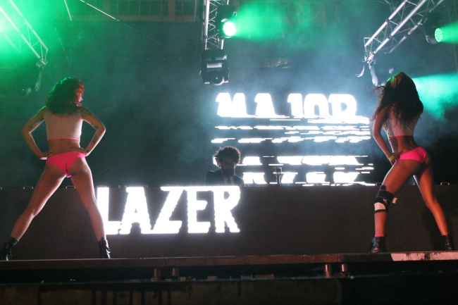 The Major Lazer dancers strike a pose during their energetic performance.